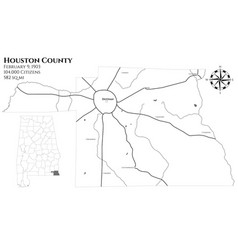 Map houston county in alabama vector
