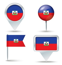 Map pins with flag of Haiti vector