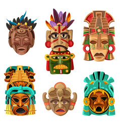 Mayan mask cartoon set vector