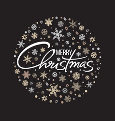 merry christmas handwritten lettering white text vector image