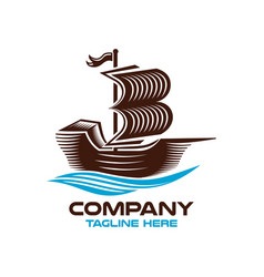 modern logo sailing ship and book vector image