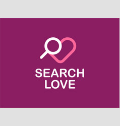 modern professional logo search love in purple vector image