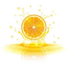 Orange in a splash of juice vector