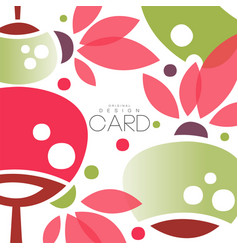 oriental flowers and lanterns card with vector image