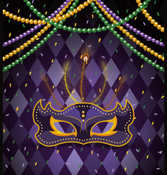 Party mask with necklace balls to mardi gras vector