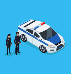 policemen standing near vehicle poster vector image