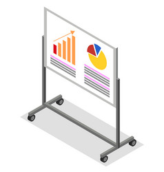 Presentation with charts on whiteboard vector