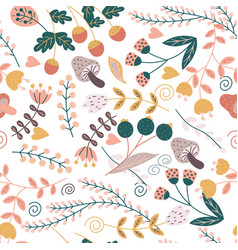print from a variety of plants and flowers vector image