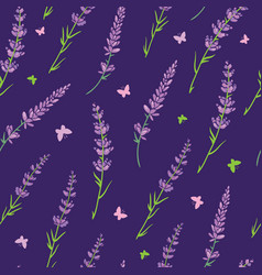 Purple lavender repeat pattern design vector