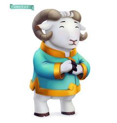 Ram sheep funny animal in chinese zodiac vector
