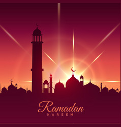 ramadan kareem season greeting with mosque and vector image