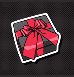 realistic gift box icon with red bow and ribbon on vector image