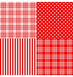 Red seamless patterns striped plaid spotted vector