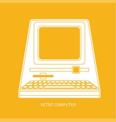 Retro computer flat vector