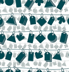 Sale tags on a rope seamless background monochrome vector image