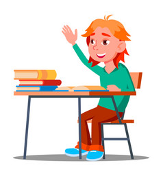 schoolboy pulls his hand to answer a lesson vector image