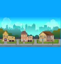 seamless cartoon city landscape unending vector image