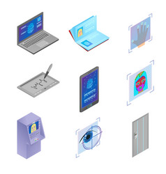 set biometric scan objects modern security vector image