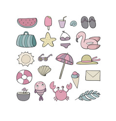 set for the beach summer collection cute cartoon vector image