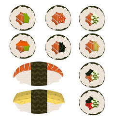 set of 10 slices sushi rolls and nigeri vector image