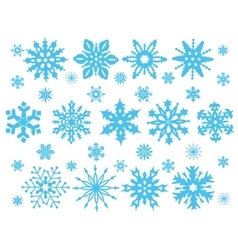 Set of blue snowflakes vector