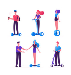 set people riding ecology transport as scooter vector image