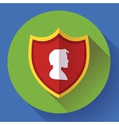 shield icon with male profile - protection symbol vector image