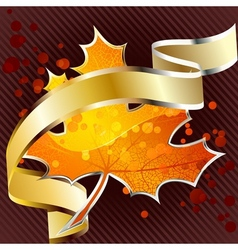 shiny red leaf with gold banner vector image