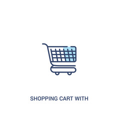 Shopping cart with grills concept 2 colored icon vector