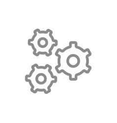 simple pinion gear wheel mechanism line icon vector image