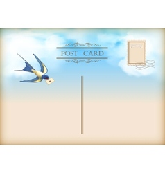 Sky bird letter mail postcard vector