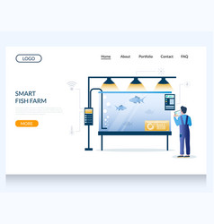 smart fish farm website landing page design vector image