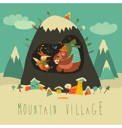 Snow covered village by the mountain with bear and vector image