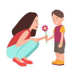 Son presenting flower to adorable mother vector