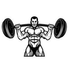 Strong powerlifting and bodybuilding athlete with vector