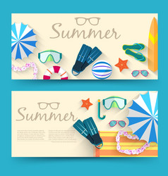 summer vecetion time horizontal banners vector image