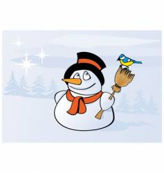 Tit and snowman vector