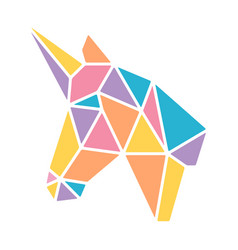 Triangle geometric origami unicorn pastel colorful vector