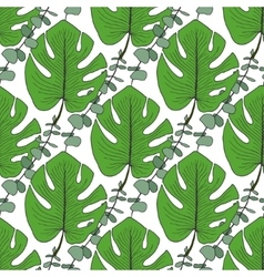 Tropical green leaves pattern vector