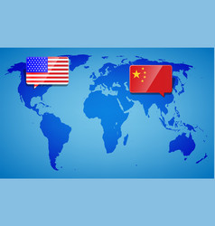 usa and china at blue world map background vector image