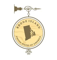 Vintage label Rhode Island vector image