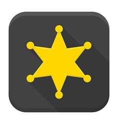 Western sheriff star flat app icon with long vector