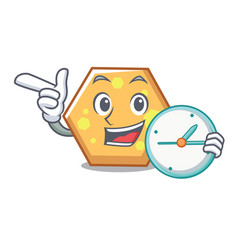 with clock hexagon character cartoon style vector image