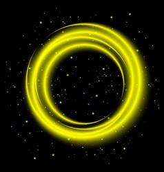 yellow light shining circle banner vector image