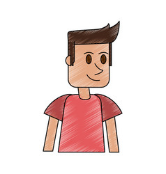 color pencil cartoon front view half body guy with vector image vector image