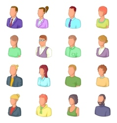 Different people icons set cartoon style vector image vector image