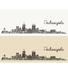 Indianapolis skyline engraved hand drawn vector image vector image