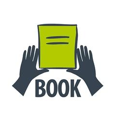 Logo hand holding a book vector