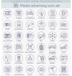 Media advertising outline icon set Elegant vector image
