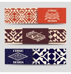 Native american style borders banners vector image